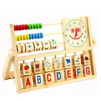ahşap oyuncak alfabesi toptan satış-Toptan-Ahşap Montessori Alfabe Meyve Dijital Öğrenme Oyuncak Bebek Çin Abaküs Oyuncak Çok fonksiyonlu Saat Oyunu Hediye JSB023
