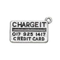 Wholesale Credit Card Charms - New Stainless Steel Zinc Alloy Metal Credit Card Shape Charm for DIY Making Jewelry