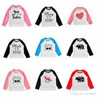 Wholesale Rabbit Tee Shirt - Baby Clothing Printed T Shirts Arrow Letter Tops Rabbit Peinted Tees Cotton O Neck Long Sleeve Tees Kid Summer Cartoon Patchwork Shirt H293