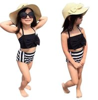 Wholesale Girl Swimsuit Stripe - 2017 Summer Infant Children New Kids Baby Girls Stripe Bikini Sets Swimwear Swimsuit Bathing Suit Beachwear Gifts free shipping