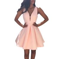 Wholesale Summer Party Dresses Design Casual - 2017 Summer Brand Design Womens Sexy Sleeveless V Neck Mini Dress Ladies Fashion Cocktail Party Short Dress Plus size Vestidos