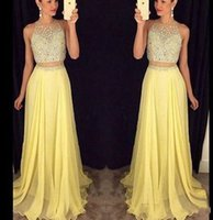 Wholesale Luxury Party Dresses Girls - Yellow Chiffon A Line Prom Dresses 2016 Shiny Luxury Beads Crytal Top Two Pieces Long Gradation Gowns Formal Party Dress For Girls