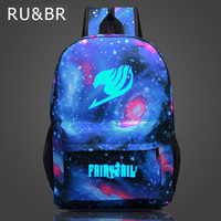 Wholesale Mini Magic Fairy - Wholesale- RU&BR Fairy Tail Backpack Cartoon Travel Bag Japan Anime Printing School Bag for Teenagers Nylon Galaxia Magic Backpacks