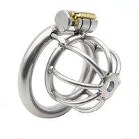 Wholesale Steel Chastity Cage Catheter - Super Short Small Male Chastity Cage Device Stainless Steel Lock with Thru-hole Penis Plug Urethral Catheters Sounds Adult Sex Toys XCXA282