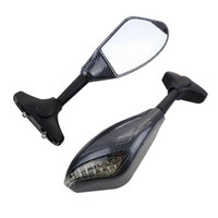 Wholesale R1 Led Light - Motorcycle Carbon Turn Signal Integrated Mirror For YAMAHA YZF-R1 R1 1998 1999 2000 2001 R6S R6 LED TURN SIGNAL MIRRORS