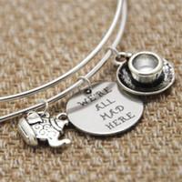 Wholesale Wonderland Bracelet - 12pcs Alice In Wonderland Jewelry We're all Mad here adjustable bracelet Alice Fan Gift Lewis Carroll Quote Literature Gift
