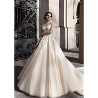 Wholesale Custom Made Cathedral Wedding Dress - Gorgeous Cathedral Train Wedding Dresses Ball Gown Appliques Lace Elegant Wedding Gowns Vestido De Novia Custom Made