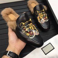 Wholesale High Fashion Slippers Men - 2017 new style brand leather fur genuine men winter men Slipper high-end luxury animal prints breathable round toe black Tiger fashion shoes