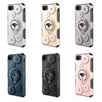 étuis iphone 5s outdoor achat en gros de-Coques multifonctions engrenage hybride Couvercle de caisse de sport d'extérieur pivotant en métal pour Kickstand en métal pour iPhone X 8 76 6S Plus 5 5S SE Sumsung S7 S8 Note 8