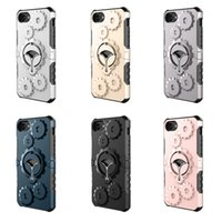 Wholesale Iphone Gear Case - Hybrid Gear Multifunctional Cases Metal Rotatable Kickstand Outdoor Sport Case Cover For iPhone X 8 76 6S Plus 5 5S SE Sumsung S7 S8 Note 8