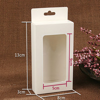 Wholesale Gift Boxes Windows - Wholesale-30Pcs Lot White Paperboard with Clear Window Hang Hole Packaging Boxes Kraft Paper Electronic Accessories Gift Craft Party Box