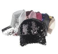 Wholesale Wholesale Women Bling Caps - Sequins Hats Women Girl Baseball Hats Sequins Paillette Bling Shinning Mesh Baseball Cap Striking Pretty Adjustable Adult Party Club Hat