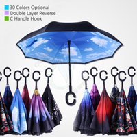 Wholesale 2017 Newest Creative Inverted Umbrellas Double Layer C Handle Hook Inside Out Reverse for Car Self Stand Windproof Umbrella Colors OEM DHL
