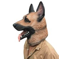 Wholesale funny face masks adults resale online - Halloween Funny Dog Head Latex Mask Full Face Adult Mask Breathable Halloween Masquerade Fancy Dress Party Cosplay Animal Mask