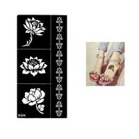 armband tattoos designs großhandel-Großhandel-1 Blatt temporäre schwarze Henna Lotus Blumen Schablone Tätowierung Armband Spitze Design Sex Frauen Make-up Tipp Körper Kunst Aufkleber Papier S256
