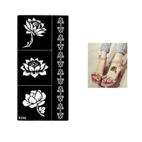 Wholesale Design Sheet Stencils Tattoo - Wholesale-1 Sheet Temporary Black Henna Lotus Flowers Stencil Tattoo Bracelet Lace Design Sex Women Makeup Tip Body Art Sticker Paper S256