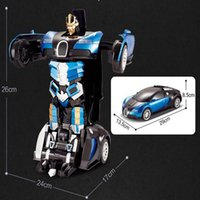 Wholesale Gift Boxes Windows - Bugatti deformation robot remote control high quality 2.4GHZ entertainment toy car Hand open window box gift