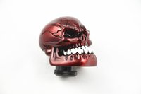 Universal Manual Gear stick Shift Shifter Lever Knob Wicked Carved Skull refit Decoração Red Gear Stick