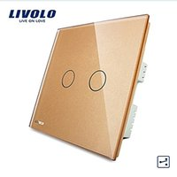 LS- Livolo, Interruptor de parede, Painel de vidro dourado de luxo, VL-C302S-63, 2 Gangs 2 Way, Touch Screen Home Light UK Switch