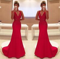 vestidos de vestidos de noiva vermelha venda por atacado-2017 Elegante Vermelho Sereia Vestidos de Noite Sexy V Pescoço Apliques Longos Vestidos de Festa de Celeridade Celerity Vestidos Formais Vestidos de Recepção Nupcial