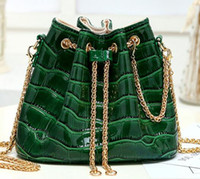 Wholesale Korean Sequin Handbag - purses handbags bucket shoulder bag Korean green black fashion leather simple ladies clutch mini bucket bag