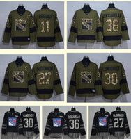Wholesale 36 27 Shipping - 2016 New York Rangers 11 Messier 30 Lundqvist 36 Zuccarello 27 McDonagh Black Green Ice Hockey jerseys Top quality Drop Shipping Wholesale