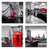 Wholesale Black Square Picture Frame - Canvas Print 4 Pieces Landon Street Scene Classic Red Bus and Big Ben Black White Picture Wall Art City Painting For Home Decor Framed
