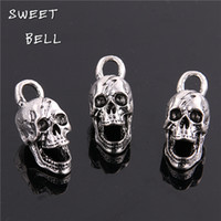 Wholesale Skull Bells - SWEET BELL Min order 10pcs 12*30MM antique silver Alloy 3D Skull charms Pendant Jewelry Findings D6127
