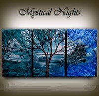 Wholesale Large Wall Art Contemporary Landscape - Framed 3PCS Large artwork,Hand Painted Contemporary Abstract landscape Wall Decor Blue Scenic Art Oil Painting On Canvas.Multi sizes Ab057