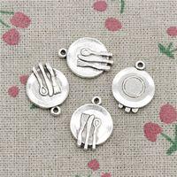 Wholesale Fork Necklace - 70pcs Charms kitchen tableware fork spoon 20*15mm Antique pendant ,Zinc Alloy Ancient Sliver DIY Craft Necklace Bracelet Accessories
