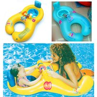 Wholesale Toddler Swimming Rings - Inflatable Float Swim Ring Mother and Baby Summer Cartoon Swimming Seat Toddler Water Beach Bath Toys Fashion New