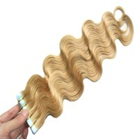 Wholesale Extension Tapes - #613 Bleach Blonde brazilian hair 100g tape in human hair extensions 40pcs body wave Skin Weft Tape in Human Hair Extensions