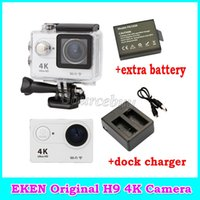 Wholesale sport camera chargers resale online - New Original EKEN H9 Action camera HD K WiFi quot LCD D lens Helmet Cam Extra Battery Dock Charger M Waterproof Sports camera