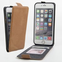 Wholesale Iphone Flip Down - Vertical Flip Luxury PU Leather Case For Apple iPhone 7 6 6s Flip Up Down Cover Coque With Card Holder