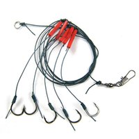 Wholesale strong fishing wire - 5 hooks set 1pc Fishhooks Red Strong Wire Strand Fishing Trace Swivel Fish Tackle Jig Hooks FISHING