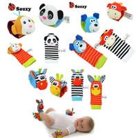 yeni doğmuş yumuşak çoraplar toptan satış-Toptan Satış - Bebek Çıngırak Oyuncak Bilek Ayak Bulucu Küçük Yumuşak Erkek Bebek Oyuncak 0-12 Ay için Çocuk Bebek Yenidoğan Peluş Çorap Brinquedos
