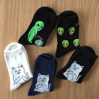 Wholesale Fashion Unisex Cartoon Cat Art Funny Alien Planet Comfortable Autumn Winter Creative Warm Cotton Halloween Party Socks