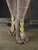 Women ornaments to make - Hand made chain crochet barefoot sandals naked shoes ornaments beach wedding sexy ankle belly dance sandals