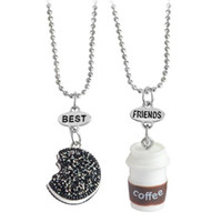 Wholesale Mini Charm Necklace - 2pcs set Cookie Coffee Best Friends Pendant Bead Chain Necklace Best Friend BFF Mini Miniature Food Jewelry BY DHL 161819
