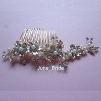 Wholesale Gold Flower Hair Comb - Real Photo Rose Gold Bridal Hair Comb Handmade Hot Sell Free Shipping Crystal Pearl Flower Wedding Hair Accessories Headpieces Factory Sale