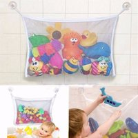 Wholesale Plastic Mesh Bags - Wholesale- Hot Selling 45*35CM Kids Baby Bath Tub Toy Tidy Storage Suction Cup Bag Mesh Bathroom Newborn gift Net Free Shipping
