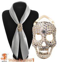 Wholesale Scarf Jewelry Skull - Wholesale- 2016 Jewelry silk scarf buckle sparkling rhinestone skull brooch corsage sweater cape pin female women dress