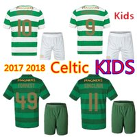 Wholesale Green Top Boy - Kids Kit Celtic FC Soccer Jerseys 2017 2018 home away green top quality babies sets boys suits young kits child children football shirt
