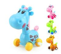 ingrosso giraffe di plastica-Cute Cartoon Wind Spring Giraffe giocattolo di plastica per bambini Bambini Animal Fancy Toys regalo creativo LH 001