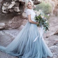 Wholesale Sexy Colors Chart - Vintage Two Colors Country Wedding Dresses Lace Tulle Open Back Beach Wedding Dress Colorful Bridal Gowns Short Sleeves Inexpensive