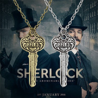 Wholesale Euro Key Chains - Hot Movie 2 Colors Detective Sherlock 221B Apartment Key Pendant Necklace Euro-American Style Vintage Jewelry Accessory Wholesale