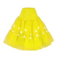 Wholesale Tutu Led - Sexy All match Layered Ruffle Mini Tutu Skirt Burlesque Petticoats Clubwear Dance Ball Gown Party Skirts S026 14 color LED light skirt