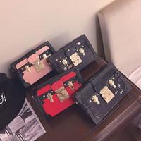 Wholesale Mini Lock Box - Wholesale-women shoulder bags fashion 2016 new casual PU box bags panelled flap messenger bag lock mini sweet ladies cross body bag,LB2218