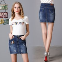 Wholesale Sumer Clothes - Women High Waist Skirts Pebcil Denim Skirt Sumer Buttoms Clothes Summer Style Embroidered Blue Plus Size 4xl 5xl New Fashion
