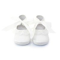 Wholesale Newborn Baby Shoes For Girls - Delebao White Lace Christening Baptism Lace-up Soft Sole NewBorn Baby Girl Shoes For 0-12 Months First Walkers